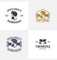 set of barber shop logo design template vector image vector image