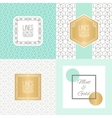 Set of line patterns and linear frames vector image vector image