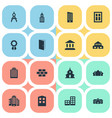 set simple architecture vector image vector image