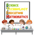 stem education logo with kids wearing scientist vector image vector image