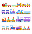 toy train with kid toys flat icons for vector image vector image