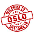 welcome to oslo red round vintage stamp vector image vector image