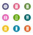 window aperture icons set flat style vector image vector image