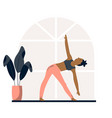 young pretty girl doing yoga at home vector image vector image
