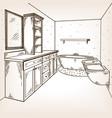 bathroom engraving vector image