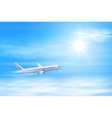 airplane in the sky with sun vector image