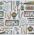Art accessories seamless pattern doodle