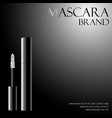 black mascara with a white applicator for the vector image