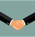 business handshake shaking hands flat design vector image