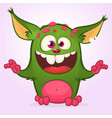 cartoon laughing green monster vector image vector image