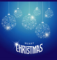 christmas card with snow flakes balls blue vector image vector image