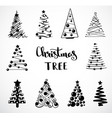 Christmas collection of decorative trees isolated