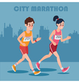 City Marathon Runners Man and Woman vector image