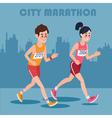 City Marathon Runners Man and Woman