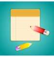 Colored pencils and simple lined notebook vector image