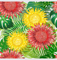 colorful exotic tropical flowers seamless pattern vector image