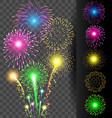 Colorful firework set on translucent background vector image vector image