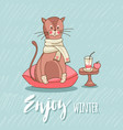 cute cat sitting on the pillow vector image vector image