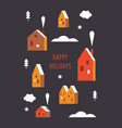 cute houses in minimalist style christmas card vector image