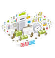 deadline concept table clock and calendar with vector image