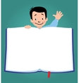 Design template with funny boy and book vector image