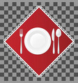fork knife and spoon with a soup plate on red vector image