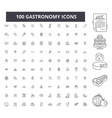 gastronomy editable line icons 100 set vector image