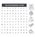 gastronomy editable line icons 100 set vector image