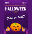 halloween party poster with spooky text vector image vector image