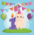 happy birthday card with cat vector image