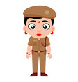 indian lady police constable cartoon vector image vector image