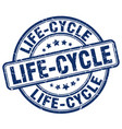 life-cycle blue grunge stamp vector image vector image