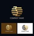 line gold round letter s logo vector image
