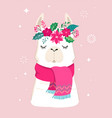llama winter cute design for nursery vector image