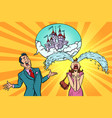 man woman tells the story of fairytale castles vector image