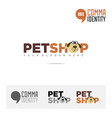petshop company name and logo concept template vector image