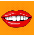 Pretty Female Smiling Lips in Retro Pop Art Style vector image