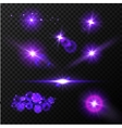 Realistic glow blue light effects Lens flare set vector image vector image