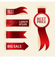 Red ribbon promotion products design vector image