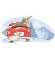 santa hurries to bring gifts vector image vector image