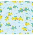 Seamless pattern with cartoon fishes vector image vector image