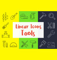 set linear icons in flat style vector image