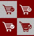 shopping cart with check mark sign bordo vector image vector image