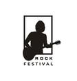 silhouette guitarist music rock singer guitar vector image vector image