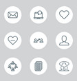 social icons set with user interaction member vector image vector image