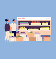supermarket customers people shopping fruits vector image vector image