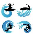 surfing symbols vector image vector image