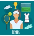 Tennis sport equipment and outfit elements vector image