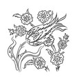 traditional turkish style floral drawing vector image vector image