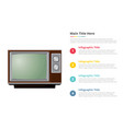 vintage television tv infographics template with vector image